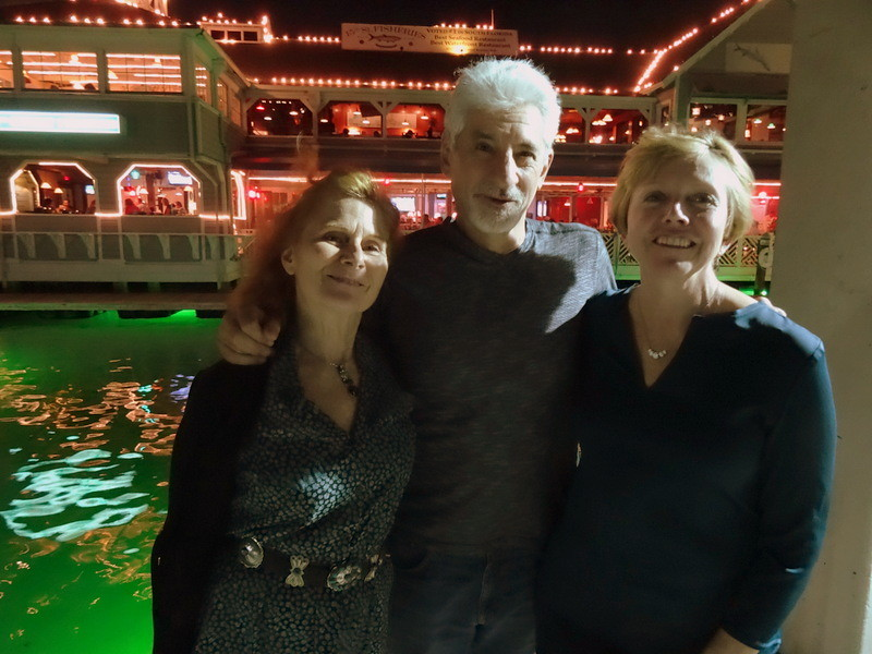 Kris with friends Howard and Ellen Goodman at 15th Street Fisheries, Fort Lauderdale.