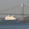RCCL Explorer of the Seas passing under the bridge, headed for Bayonne NJ. They turn and back in there.