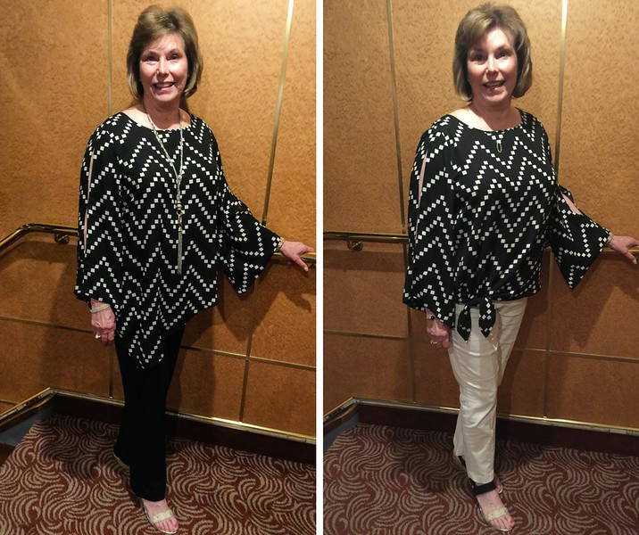 A boomer woman models Alaska cruise fashions for casual night wearing a black and white top with black pants in one photo and with white pants in the second photo.