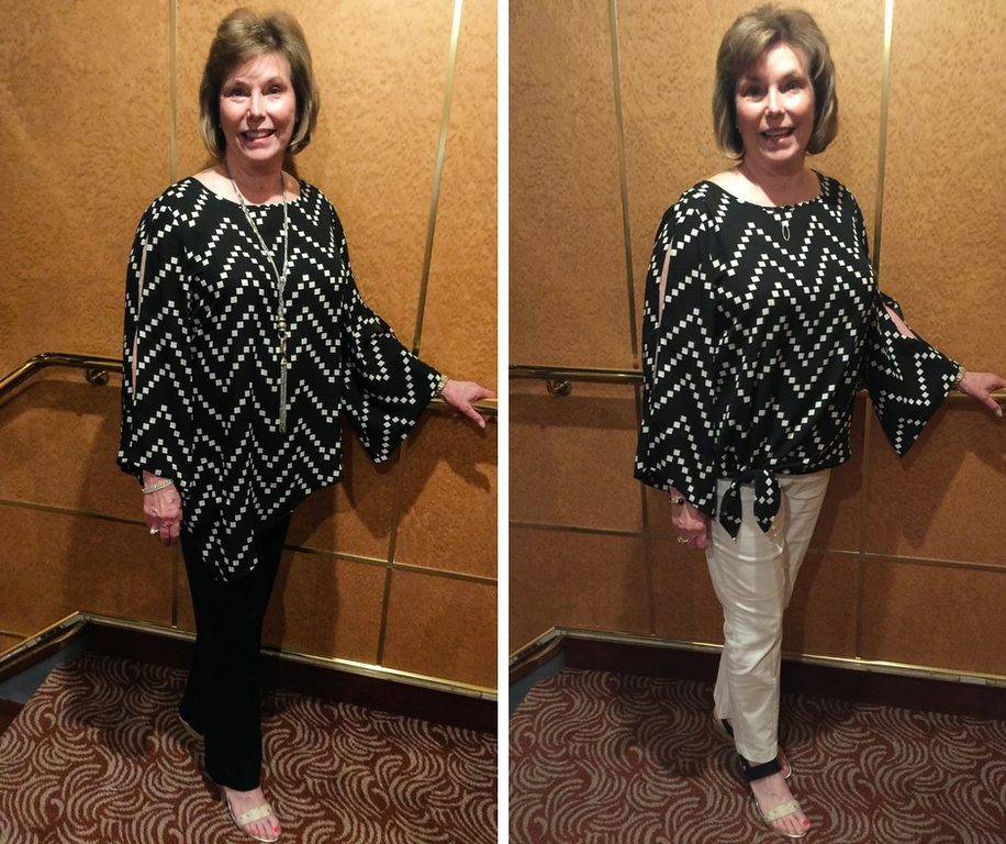 Donna Hull wearing black and white geometric blouse