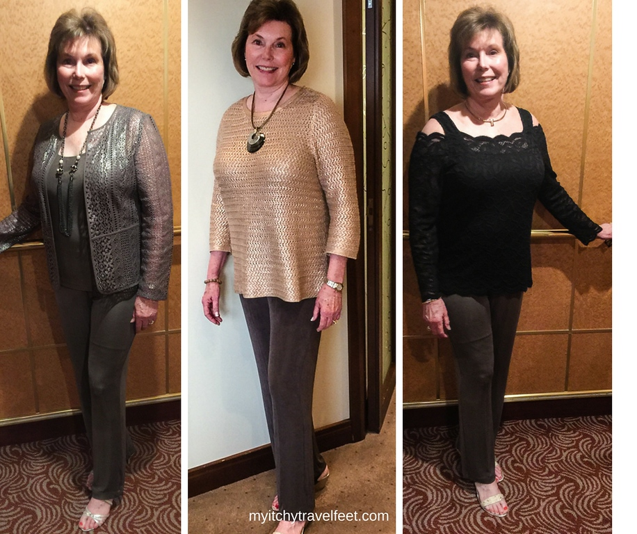 Donna modeling taupe travelers pants