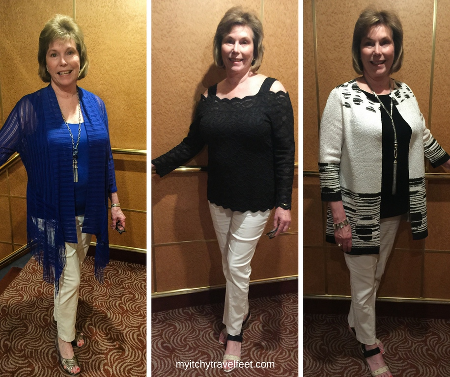 Donna Hull modeling her favorite cruise wear