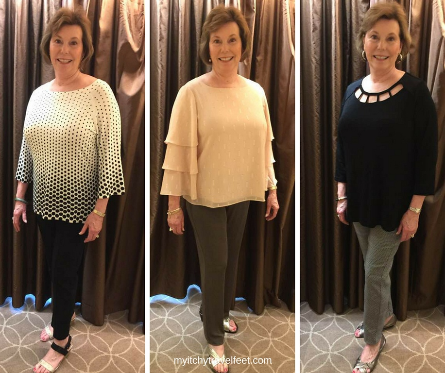 Three Chico's tops to wear on a luxury cruise. First photo: black and white polka dot sweater, second photo: peach top with gold accents, third photo: black top with decorative cutouts.