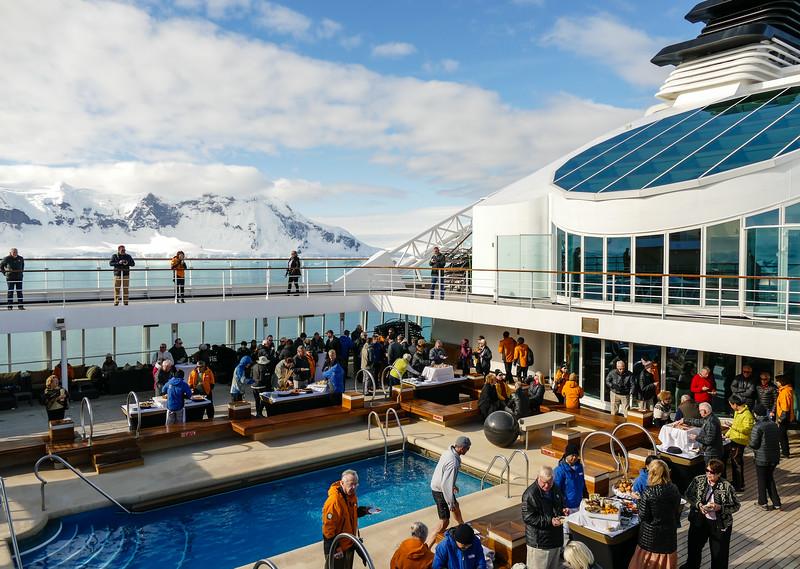 Outdoor party on a cruise ship in Antarctica