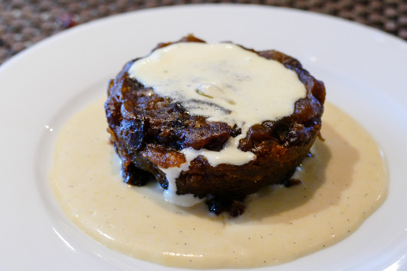 Chocolate bread pudding with vanilla sauce