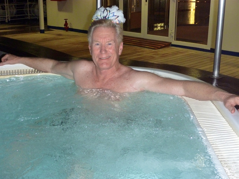 New Year's Eve dip in the hot tub on Silver Cloud.
