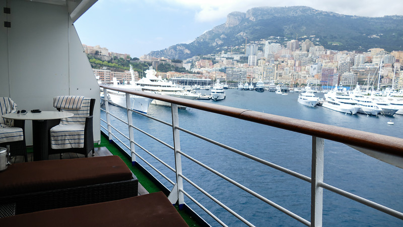 View of Monaco from the verandah of a luxury cruise ship.