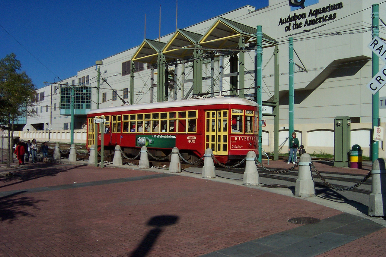 The bus tour concluded back at Jackson Square.  We caught the streetcar seen here (no, it wasn't named Desire), to get back to our hotel.  It was time to collect our luggage and get over to the cruise ship terminal.<br /> [New Orleans]