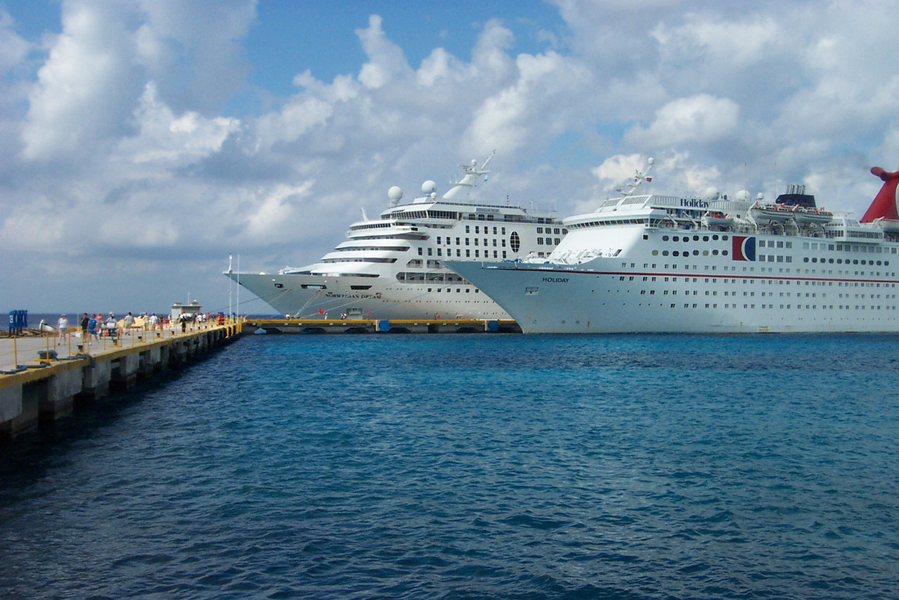 After a day at sea, our first port of call was Cozumel, Mexico, where we docked on the west side of the island.  Our ship is behind the Carnival ship.<br /> [Western Caribbean cruise]