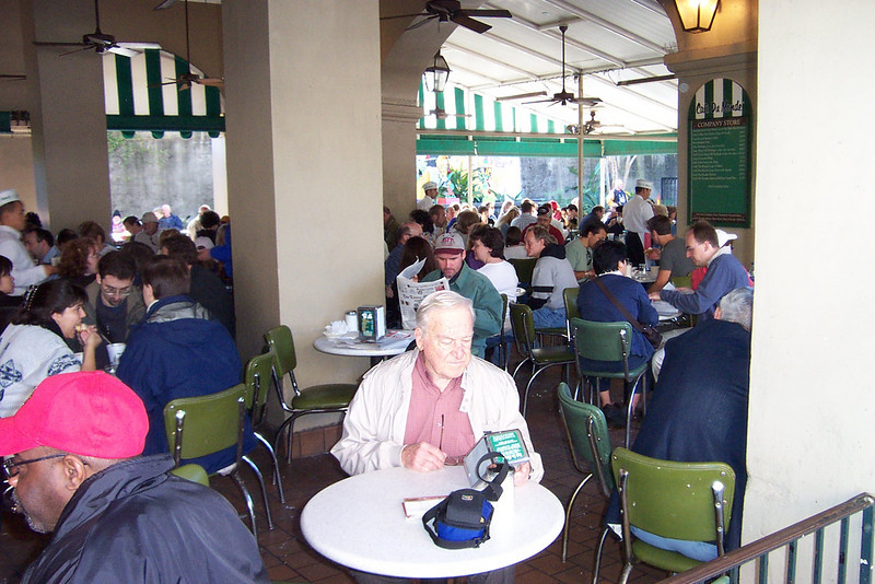 We took a break at Cafe du Monde, which is just off Jackson Square.  This is their outdoor seating area.<br /> [New Orleans]