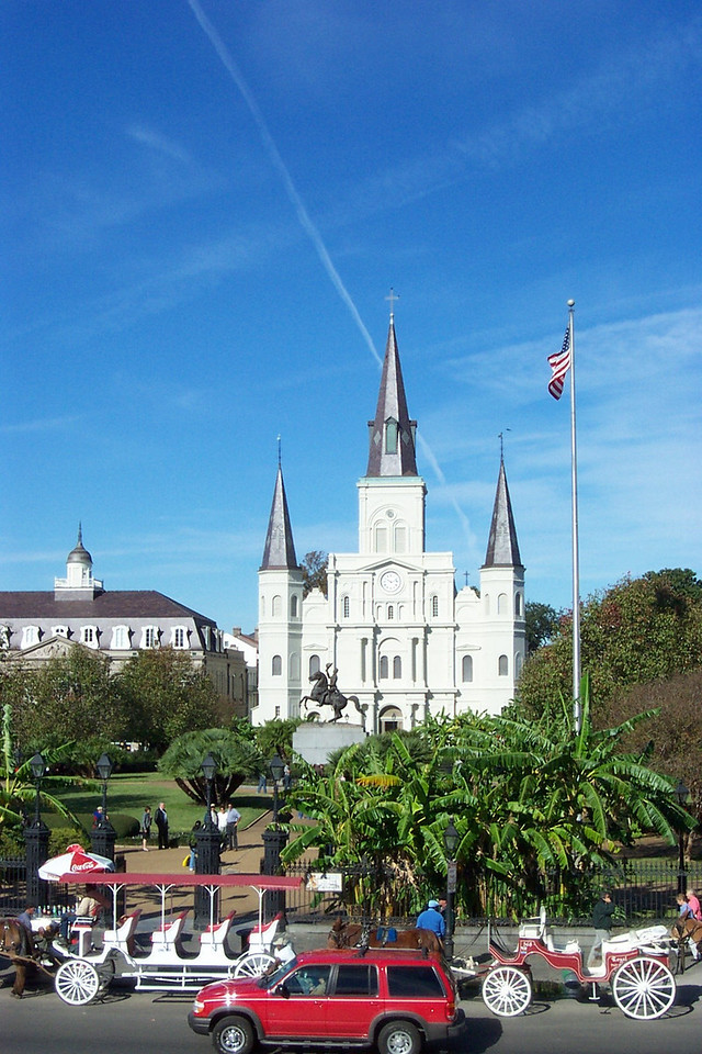 On one side of Jackson Square, you can climb up on the levee for a better view.<br /> [New Orleans]