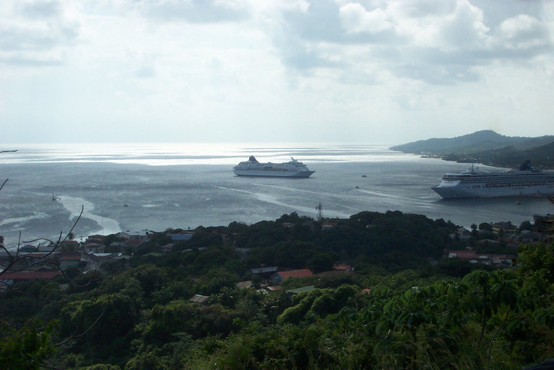 Our next stop was Roatan, part of the Bay Islands off the coast of Honduras.  Our ship is the one that's anchored further out.<br /> [Western Caribbean cruise]