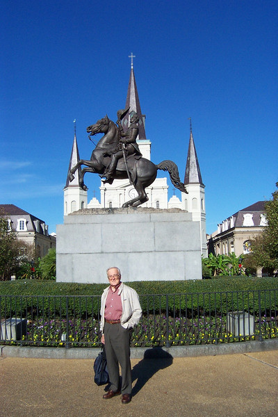Here's Dad in front of the statue of Andrew Jackson in Jackson Square.<br /> [New Orleans]