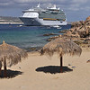 Small beach and cruise ship in Cabo
