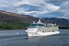 The Celebrity Eclipse cruise ship leaving the  Eyjafjörður fjord city of Akureyri, Iceland, Europe.