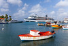 The marina and port of Aruba with the Celebrity cruise ship Millennium.