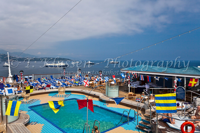 The pool deck on hte Holland America cruise ship Noordam.