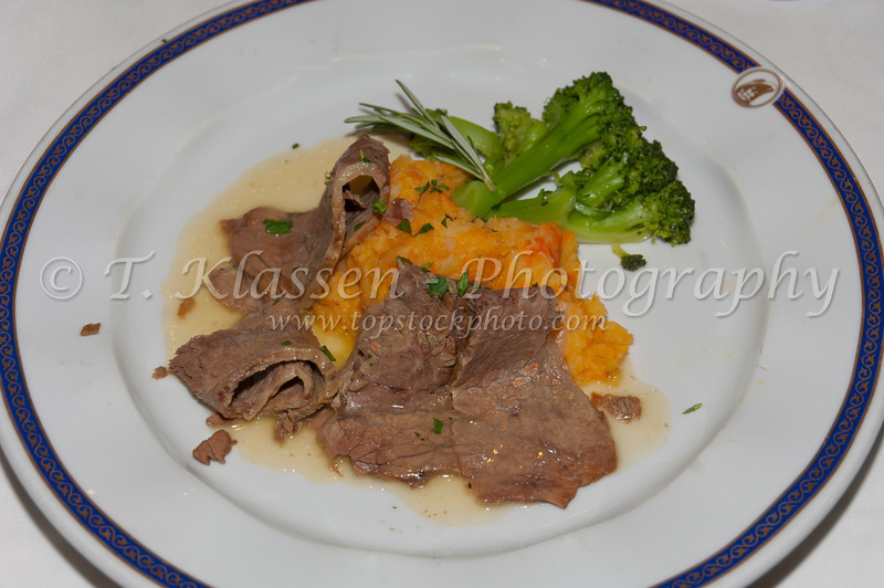 Dutch favorite Brisket of Beef dinner on the Holland America cruise ship Ryndam.