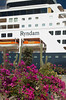 Tropical foliage at the port of Pichilingue Mexico and the Holland America cruise ship Ryndam.