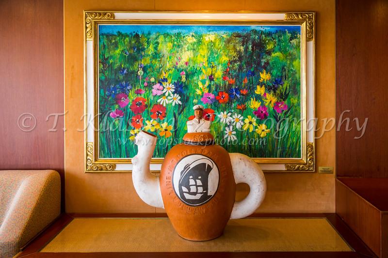 Decorative artwork in the Crow's Nest of the Holland America cruise ship Volendam.