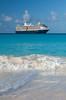 The Holland America cruise ship Westerdam  anchored off shore at Half Moon Cay, Bahamas.