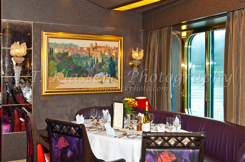 Attractive decor at the Vista Dining Room on the Holland America cruise ship Zuiderdam.