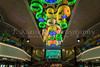 A large colorful light fixture in the atrium of the the cruise ship Norwegian Jade.