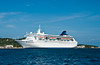 The cruiseship Norwegian Sea docked at Coxen Hole, Roatan, Honduras, Central America.