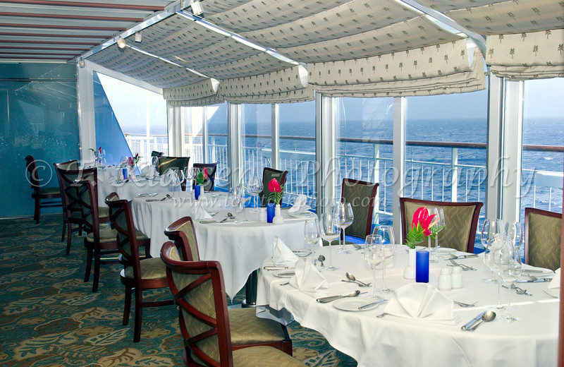 An ocean view dining room on the cruise ship Norwegian Sea.
