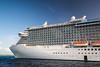 The Regal Princess cruise ship anchored off the Princess Cays, Bahamas.