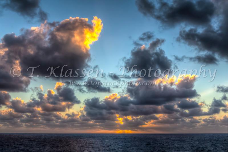 Sunrise over the Caribbean Sea.