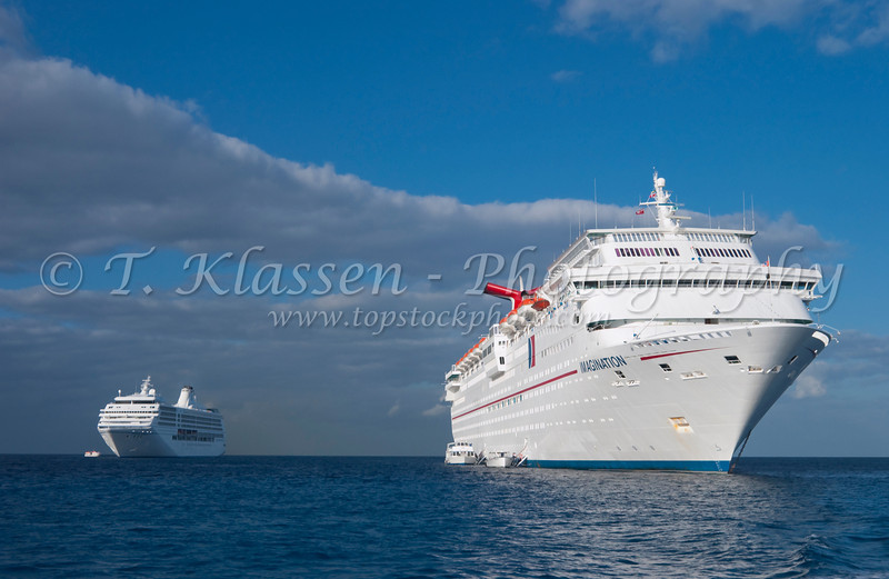 Cruise ships tendering off the Cayman Islands in the western Caribbean.
