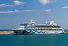 The port of Palma with the Aida cruise ship in Palma de Mallorca, Spain.