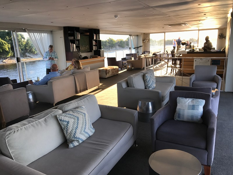 As this is a super small boat, besides your room, there are only 2 more places you'll spend time onboard. Above at the Lounge... which features 360 degree views...