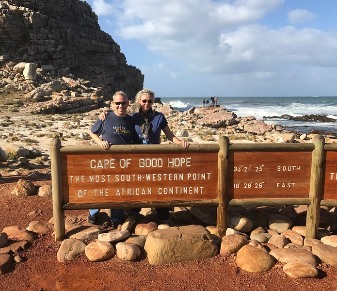 """A fun highlight of this drive was our stop at the """"Cape of Good Hope"""" which is one of the most Southern points in all of Africa... being in Egypt a few months before this helped us see how amazingly different North Africa & South Africa are... a unique continent for sure!"""