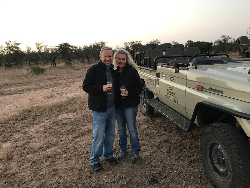 """And during our """"Evening"""" drives it was more adult-beverage time with snacks... they literally set up a bar for us in the middle of nowhere! :-)<br /> <br /> Well, there you go... a look at our time in Cape Town, on the Chobe River, in Victoria Falls, in Johannesburg & during our Safaris at Krueger National Park. <br /> <br /> This was truly a trip of a life-time and our favourite so far!!<br /> <br /> It's not cheap to go to Africa and the flights are super long but the time & money are all worth it as you'll come home with memories that'll last a lifetime! :-)<br /> <br /> Want to see our full review of this trip? If so, simply click here: <a href=""""http://www.nancyandshawnpower.com/africa-river-cruise-safari-ama-waterways/"""">http://www.nancyandshawnpower.com/africa-river-cruise-safari-ama-waterways/</a>"""