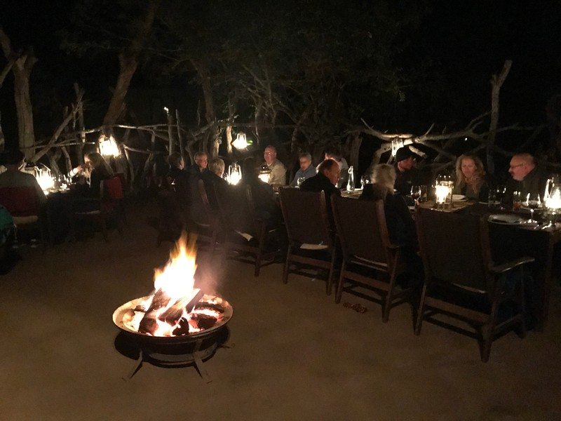 "The meals at the ""Tintswalo Lodge"" were all excellant for sure but the venues were cool too like when we sat out back on the Lodge's patio with wildlife hanging around and our evening dinner outside under the stars was pretty special too! :-)"