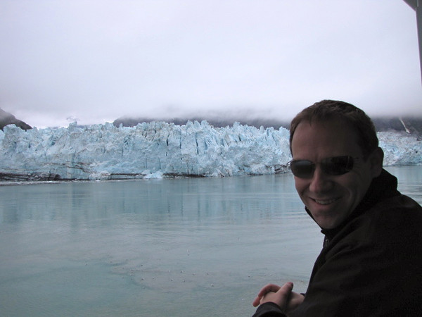 "One thing we'll never get tired of in Alaska is experiencing the dramatic Glaciers they have up there... today was our first time in Glacier Bay National Park so definitely a highlight... there's Shawn taking in the ""Margerie Glacier""."