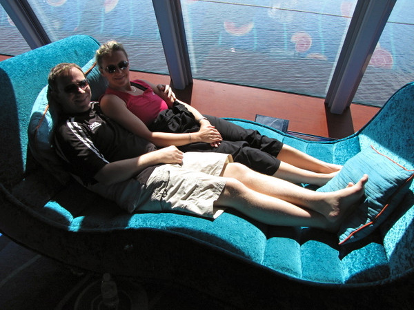 "There we are enjoying one of the daybeds up in the ""Spinnaker Lounge"" on the Pearl... a nice way to relax while enjoying a ""Sea Day"". As this wasn't our first time we sailed on the ""Pearl"" we didn't do our usual photo & video tour of the ship but you can see our previous review of her here: <a href=""http://gallery.nancyandshawnpower.com/CruiseVacations/Norwegian-Pearl"">http://gallery.nancyandshawnpower.com/CruiseVacations/Norwegian-Pearl</a>"
