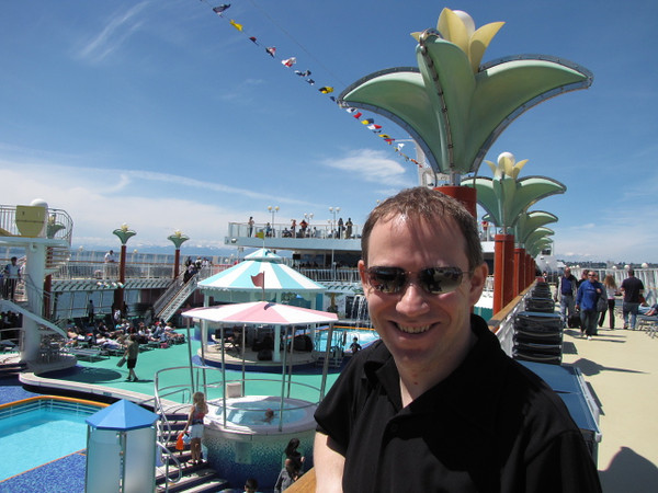 "Shawn looks pretty happy to be spending his Birthday embarking on the ""Norwegian Pearl"" & setting sail to Alaska to see Juneau, Skagway, Ketchikan & ""Glacier Bay""! :-)"