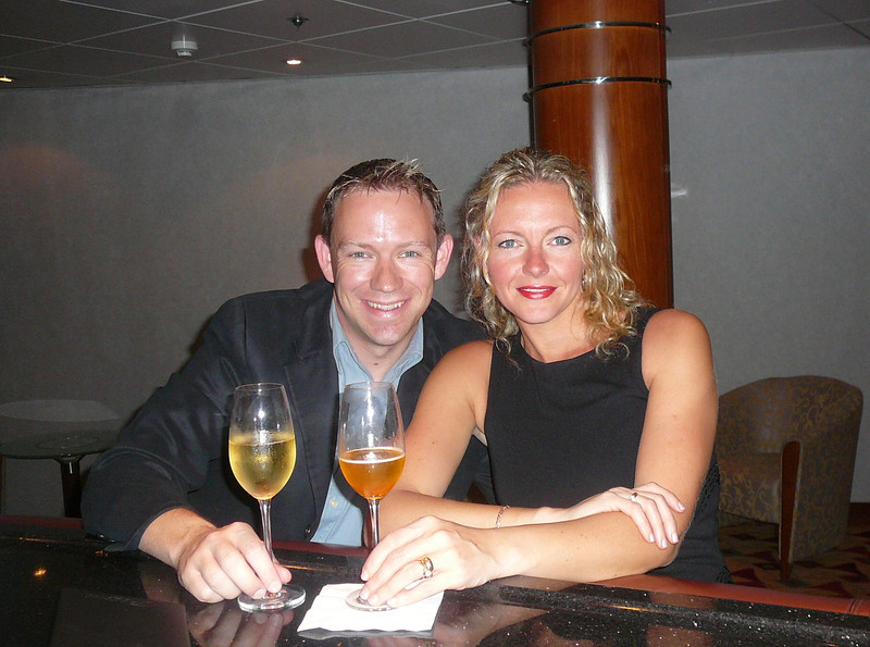 "Here we are enjoying a pre-dinner glass of Champagne before we head into our much anticipated dinner in ""Signatures"", the first Restaurant at Sea to offer dining by the famed Le Cordon Bleu® of Paris!!"