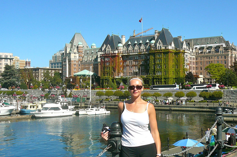 "There's Nancy in Beautiful Victoria Harbor with the ""Majestic"" Fairmont Empress in the background."