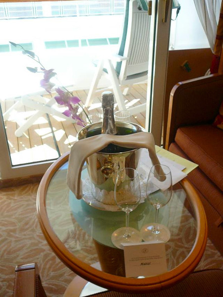 "As we arrived in our Balcony Suite, we were greeted with a nice bottle of ""Welcome Champagne""... standard for all guests on the ""Seven Seas Mariner"". One of the many perks of Regent's all-inclusive Cruises."