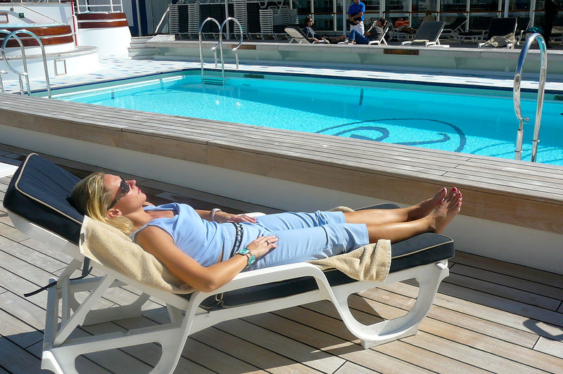Bet you never expected to see much sun tanning going on during an Alaska Cruise. :-) Sun, a pool, lying out on a Luxury Cruise Ship... what else could a Woman want?? :-)