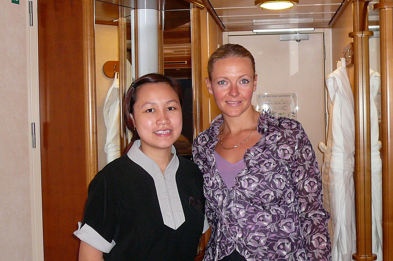 "There's Nancy with our Room Stewardess, Mishel. Talk about one of Regent's great employees!! Mishel kept our room perfect and provided us with the excellent, gracious service that ""Regent"" is known for!! :-)"
