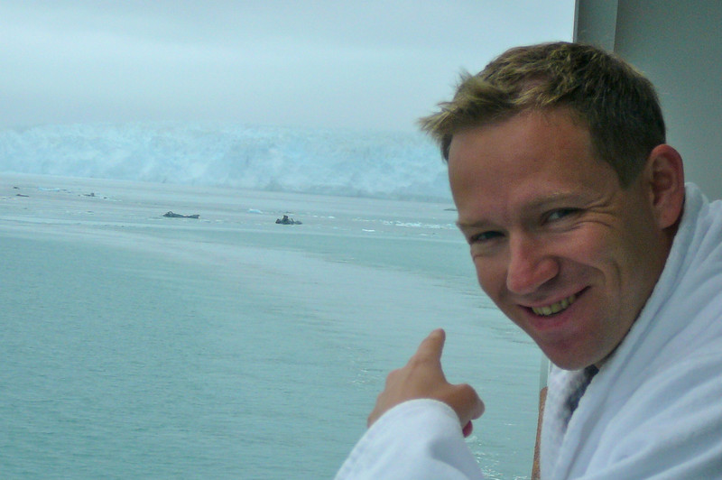 "Shawn looks pretty excited to be here checking out ""Hubbard Glacier up close!!"