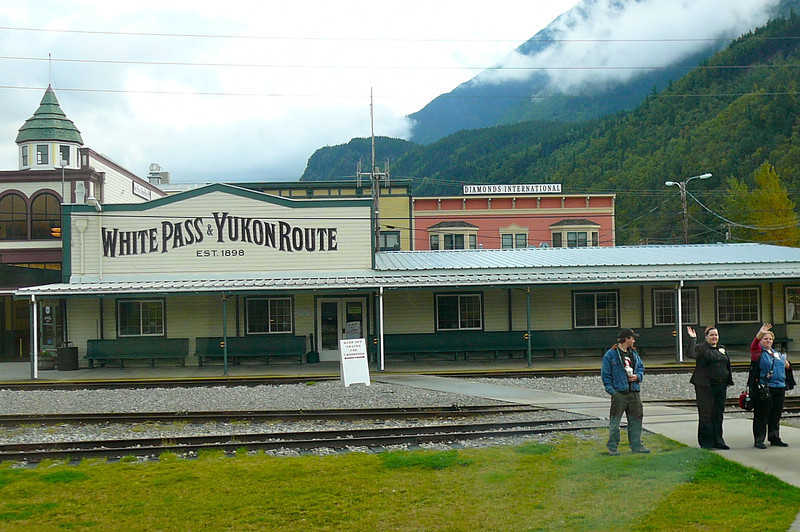 "Here we are in Beautiful Skagway, AK. Population of 800. Can you imagine over 900,000 tourists pass through here each year. The 4 ships in port today alone carried over 7,000 people. And most of these people took the ""White Pass"" train ride."