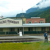 """Here we are in Beautiful Skagway, AK. Population of 800. Can you imagine over 900,000 tourists pass through here each year. The 4 ships in port today alone carried over 7,000 people. And most of these people took the """"White Pass"""" train ride."""