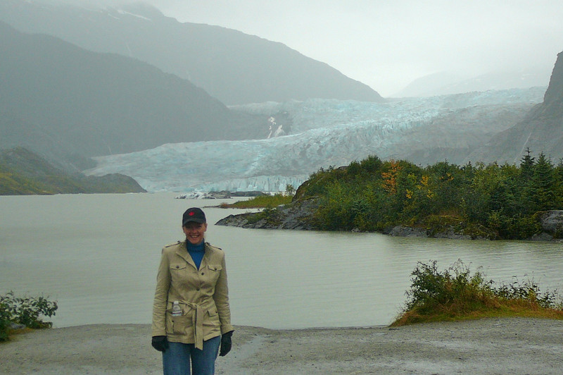 "Not quite as big as the 76 mile long ""Hubbard Glacier"" but at 12 miles ""Mendenhall"" is a big Glacier that's a site to see!! Here's Nancy enjoying Mendenhall's beauty!"