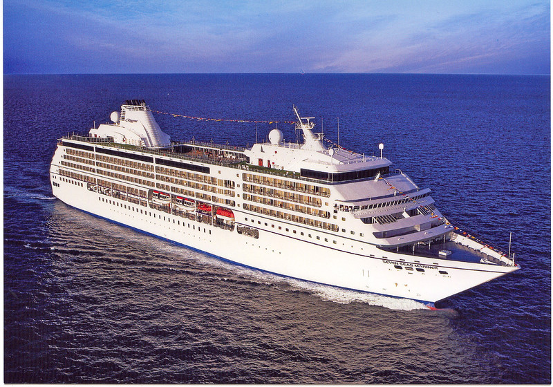 """Here's a shot of our """"Home"""" for the 8 nights we spent Cruising in Alaska... the Beautiful Regent """"Seven Seas Mariner"""". All suites, all with Balconies, smallest room over 300 sq feet... the nicest ship we've sailed on yet!!"""